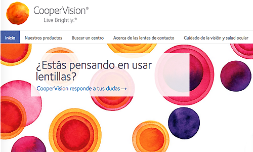 Section of Cooper Vision website Spain