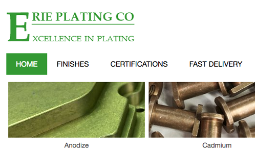 Section of Erie Plating website