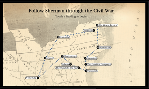 Map of Gen. Sherman's progress through the Civil War